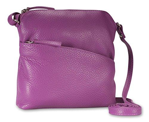 Brunhide - Shoulder Bag With Adjustable Strap For Women - Genuine Leather - Small - # 134-300 Berry