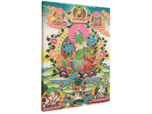 The Savior Goddess Green Tara Tibetan Buddhist Tibetan Thangka Painting Oriental Buddhism Religion Faith Canvas Prints Wall Art Printing Decoration Stretched and Framed Ready to Hang (20 X 30 IN)