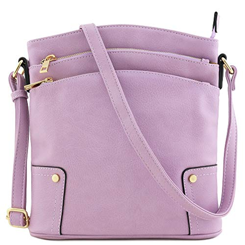 Triple Zip Pocket Large Crossbody Bag (Lavender) (Crossbody Bag Big)