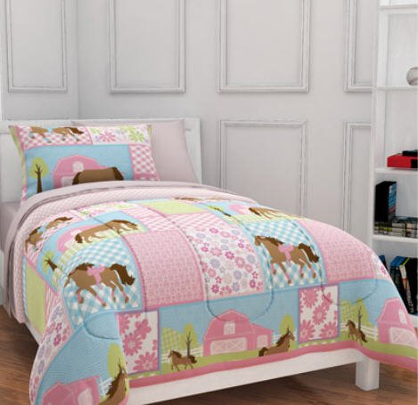 Girls, Pony, Country Horse Twin Comforter, Sheets & Sham Set (5 Piece Bed In A Bag) - Country Bedding Sets Twin