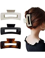3 Pcs Big Hair Claw Clips, Hair Clip with Strong Fixing Force,Acrylic Plastic Large Hair Claw Clamps for Women and Girls Thin Hair, Strong Hold for Thick Hair