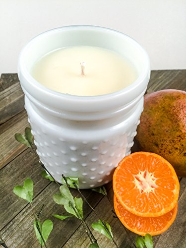 Mango & Tangerine Soy Candle, Milk Glass Hobnail Jar Candle, 22 oz (Vintage Milk Hobnail Glass)