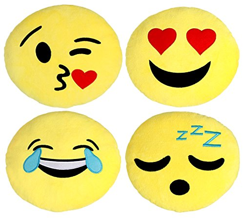 Large Emoji Pillows 4 Piece Set, 30CM / 12 Inches Yellow Round Thick, Plush and Soft Emoticon Cushions