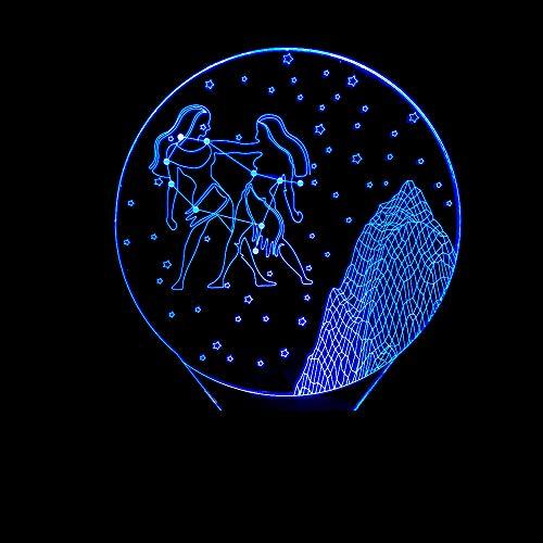 WEREWTR 3D Night Light3D Led Bedroom Table Lamp Romantic Bedside Constellation Starry Gemini Nightlight Vision Decor Baby Sleep Nightlight Lamp Gifts