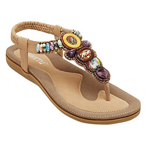 YOUJIA Women's Bohemia Style Beaded T-Strap Flip Flop Flat Sandals 2-9.5 Apricot