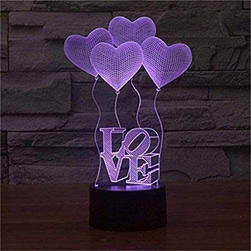 3D Illusion 4 Love Heart Balloons Night Light,USB 7 Colors Change Touch Table Desk Bedroom LED Lamp for Girls Lover's Gift&Home Decoration by YiYaoFa