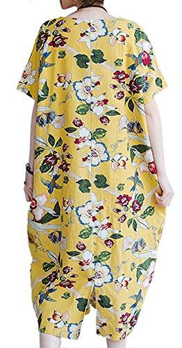P Ammy Fashion - Vestido - camisa - Floral - Manga corta - para mujer