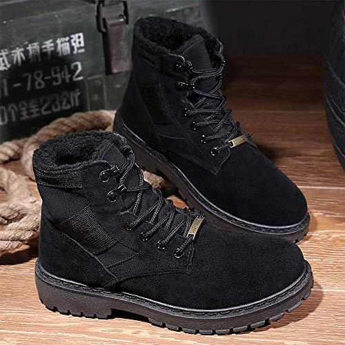 Eu color 42 Polaire De À Noir Mode Haute Casual Plein Hiver boots Travail Yajie Classique Taille La Air Cheville Faux En L'intérieur Botte Sand Outsole fHggqB