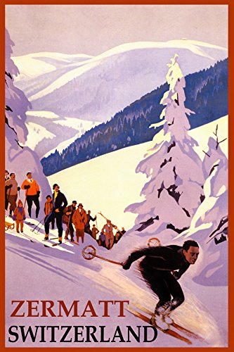 "WINTER SPORTS ZERMATT SKI MOUNTAIN SWITZERLAND ALPS DOWNHILL SKIING TRAVEL VINTAGE POSTER REPRO ON PAPER OR CANVAS (20"" X 30"" IMAGE MATTE PAPER)"