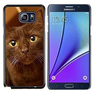 YiPhone /// Prima de resorte delgada de la cubierta del caso de Shell Armor - La Habana Brown Ojos verdes del gato - Samsung Galaxy Note 5 5th N9200