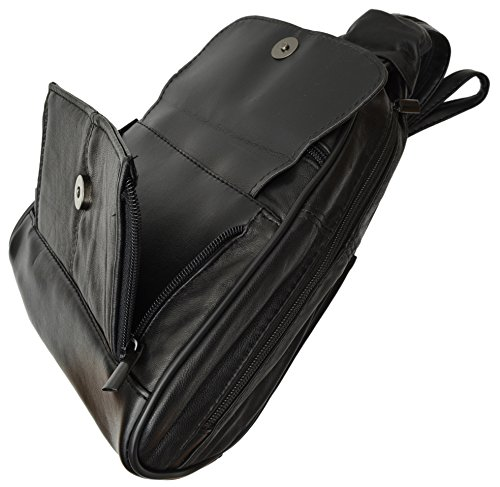 New Women's Black Genuine Leather Zippered Backpack Style - Leather Genuine Large Backpack New