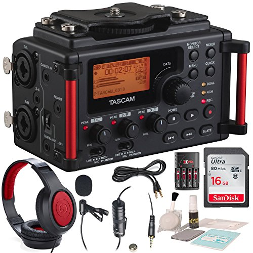 Tascam DR-60DmkII 4-Channel Portable Recorder for DSLR with Deluxe Accessory Bundle and Cleaning Kit (Best Dslr Audio Recorder)