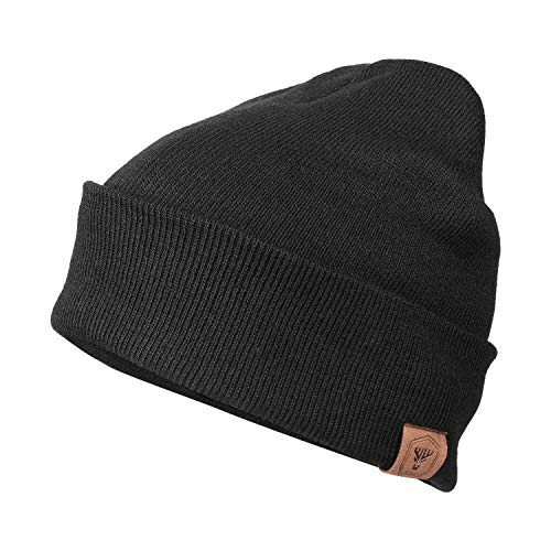 (OZERO Mens Winter Daily Beanie Stocking Hat Thermal Polar Fleece Snow Ski Skull Cap Black)