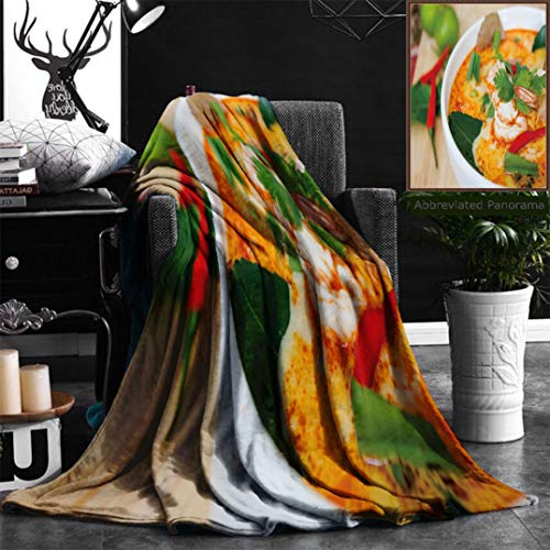 Nalagoo Unique Custom Flannel Blankets Tom Yam Kung Or Tom Yum Tom Yam Is A Spicy Clear Soup Typical In Thailand And No Thai Dish Super Soft Blanketry for Bed Couch, Twin Size 60'' x 80'' by Nalagoo