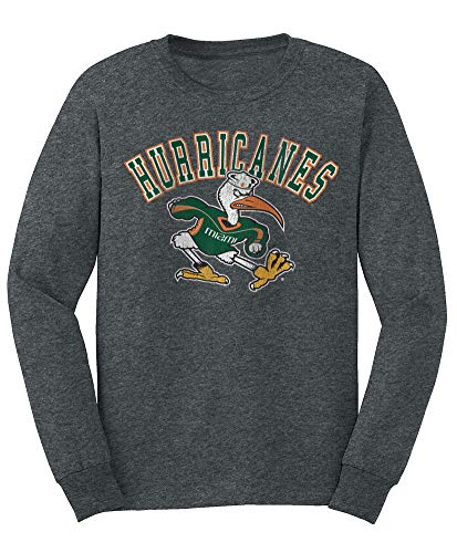 Elite Fan Shop NCAA Men's Miami Hurricanes Long Sleeve T Shirt Charcoal Vintage Miami Hurricanes Charcoal XX Large