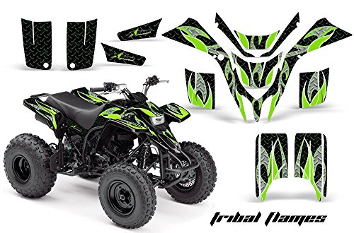 998-2005 ATV All Terrain Vehicle AMR Racing Graphic Kit Decal TRIBAL FLAMES GREEN BLACK (Yamaha Atv Graphics Kit)