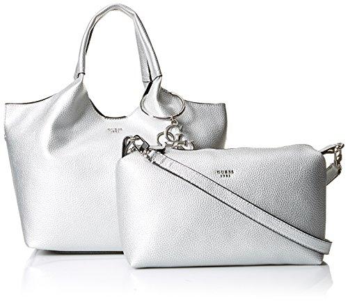 Sil de Plateado Shoppers bolsos y Mujer GUESS Flora hombro Silver n7zqA0xIZ