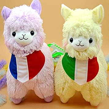 35cm Juguetes Japan Alpaca Plush Toys Wearing Flags 5 Colors Pelucia Stuffed Animals Lama Sheep Peluches