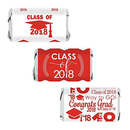 Class of 2018 Graduation Miniatures Candy Bar Wrapper Stickers, Set of 54 (Red Candy Bar)