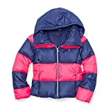 Polo Ralph Lauren Girl's Rugby Down Jacket, Medium, Pink/Navy