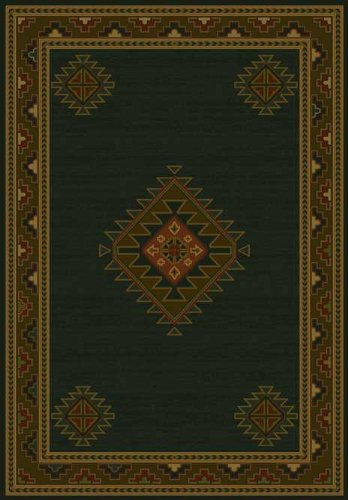 (United Weavers of America Genesis Collection Laramie Heavyweight Heat Set Olefin Rug, 1-Feet 10-Inch by 3-Feet, Hunter)
