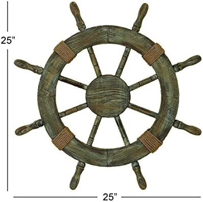 Nautical Decor 24″ Wood Pirate's Ship Wheel Marine Decor