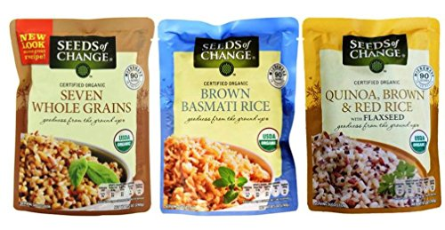 Seeds of Change Organic Heat & Eat Rice Side Dish 3 Flavor Variety Bundle: (1) Quinoa, Brown & Red Rice w/Flaxseed, (1) Brown Basmati Rice, and (1) Seven Whole Grains, 8.5 Oz Ea (3 Tot)