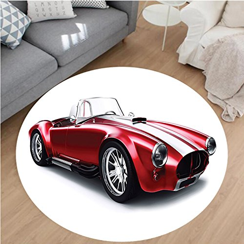 """Nalahome Modern Flannel Microfiber Non-Slip Machine Washable Round Area Rug-ed Vintage Coupe Car Automobile Illustration With Digital Smooth Bright Color Effects Red area rugs Home Decor-Round 24"""""""