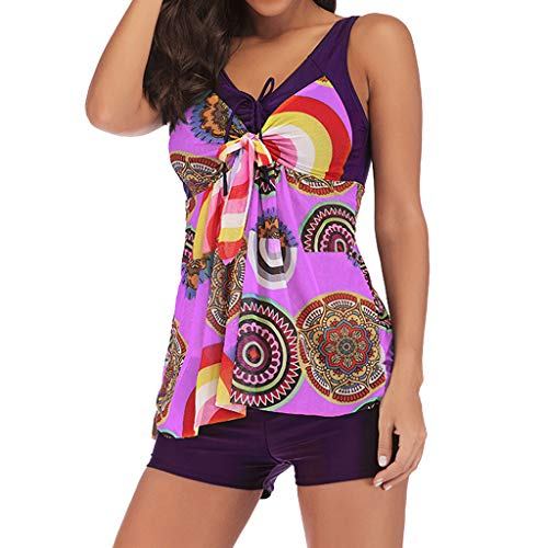 HJuyYuah Women Plus Size Print Tankini Swimjupmsuit Swimsuit Beachwear Padded Swimwear Hot Pink ()