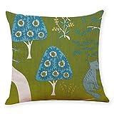 Pgojuni Cotton Linen Square Home Decorative Throw Pillow Case Sofa Waist Cushion Cover Sofa/Couch 1pc 45X45 cm (D)