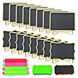 30 Pcs Mini Chalkboard Sign with Easel Stand, Wobe Blackboard with Stand, Wood Rectangle Small Blackboard with Support Easel Place Cards for Party Wedding Table Number Message Board Signs Decoration