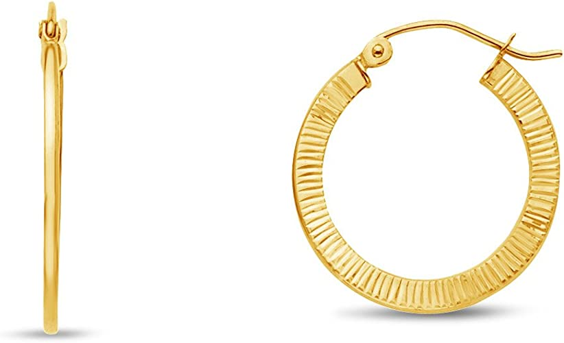 14k Yellow Gold 15-mm Diamond-cut Hinged Hoop Earrings