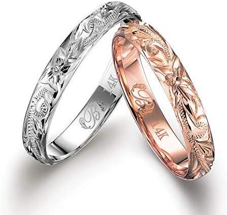 ハワイアンジュエリー ペアリング K14ゴールド 指輪 2個セット 【ピンクゴールド:9号】【ホワイトゴールド:19号】 GMR1019-1020P-PRIME