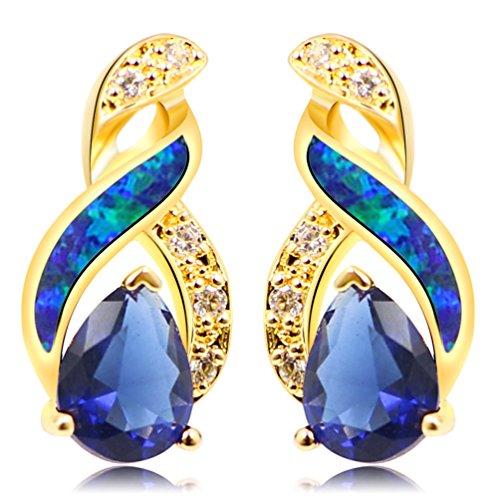 (Australian Blue White Fire Opal Gemstone Stud Earrings for Women, Birthstone Jewelry Birthday Gifts (Yellow Gold Sapphire Blue))
