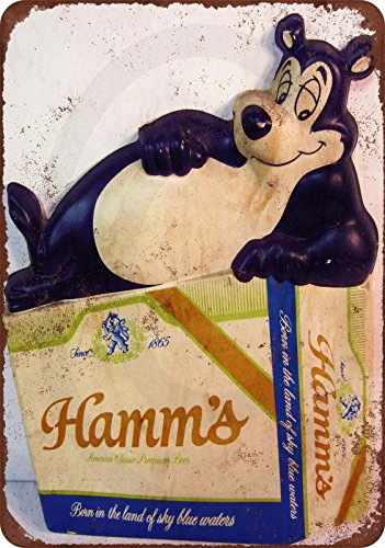 Hamms Bear - Hamm's Beer Bear Vintage Look Reproduction Metal Sign 8 x 12