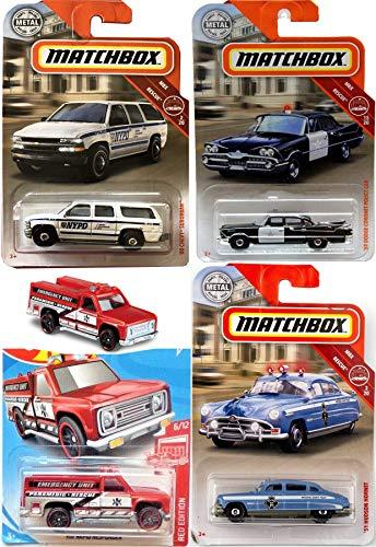 Matchbox County Police Emergency Squad Rescue Bundle Hudson Hornet Patrol / NYPD Chevy Suburban / Retro Dodge Coronet Car + Hot HW Responder Unit Mission MBX Bundle 4-Pack Heroic -