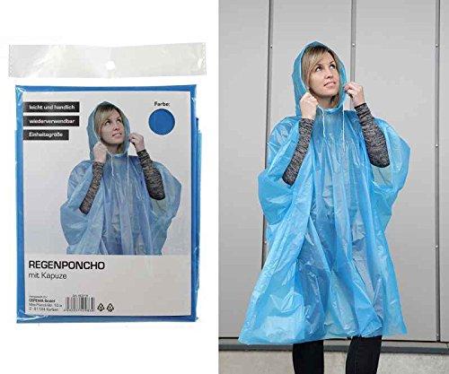 Regenponcho mit Kapuze - Regenjacke wiederverwendbar, praktisches Give Away, Einweg Poncho