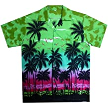 Funky Hawaiian Shirt Men Short Sleeve Front-Pocket Beach Sun Green