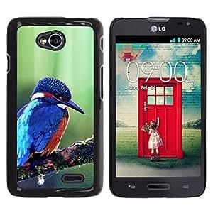 Caucho caso de Shell duro de la cubierta de accesorios de protección BY RAYDREAMMM - LG Optimus L70 / LS620 / D325 / MS323 - Cute Majestic Blue Kingfisher Bird
