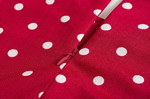 Manica A Increspato A Aderente Donne Lato Rosso Modello Girocollo Muro Vestito Delle Pois Corta Bewish D'epoca vdw00Hx