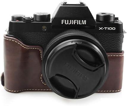 Estuche Fuji X-T100, Funda Inferior de kinokoo para cámara FUJIFILM X-T100, asa de Mano de Media Cubierta (café): Amazon.es: Electrónica