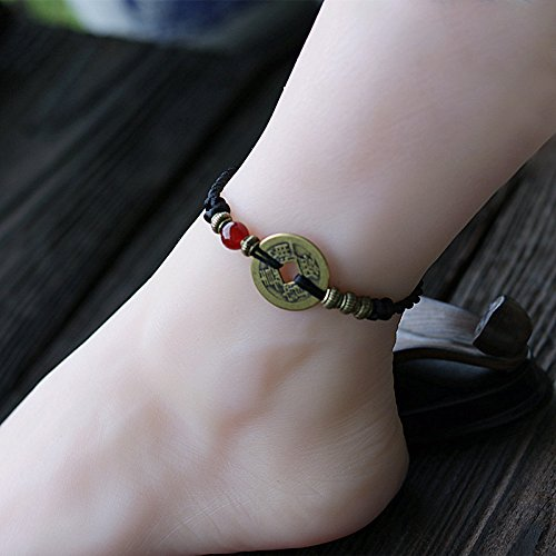 Decorated Jewelry - TKHNE Retro ethnic jewelry antique coins ancient coins evil women girls couple bracelets men's jewelry decorated Foot Chain anklet ankle chain woven