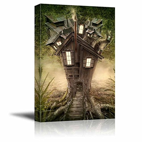 Fantasy Tree House in Forest Wall Decor