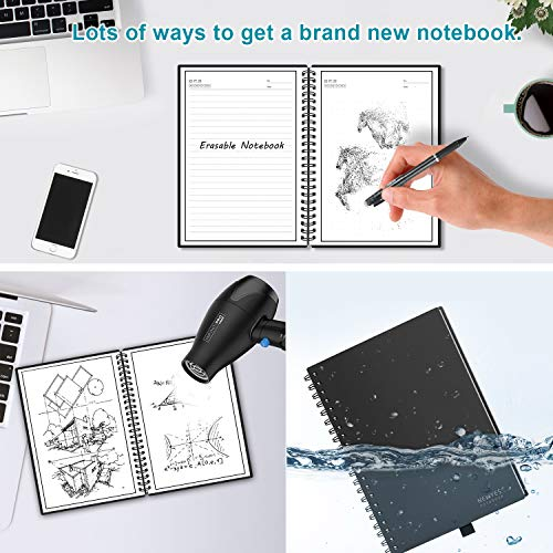 Erasable Reusable Hardcover Smart Notebook APP Storage Notepad(PUA5-6 6 X 9  inch Brown)
