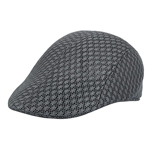 Aritone Men Breathable Mesh Beret Caps Handsome Fitted Solid Newsboy Hats Low Profile Sunhat (Dark Gray)