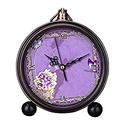 GIRLSIGHT Art Retro Living Room Decorative Non-Ticking, Easy to Read, Quartz, Analog Large Numerals Bedside Table Desk Alarm Clock-B4410.Guestbook, Purple, Butterfly, Romantic, Beautiful