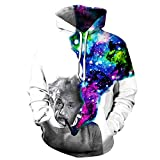 Mclochy Fashion 3D Galaxy Smoking Einstein Hoodie Unisex Hooded Pullover Sweatshirt (Asian L/XL = US M/L)