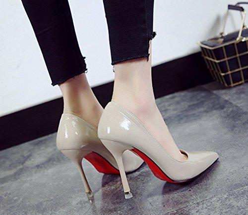 Poco de Europa Mujer Zapatos y América Zapatos Boca de de de Minimalismo Charol Primavera Cuero Profunda Moda LBDX Señaló Beige 6UxFU