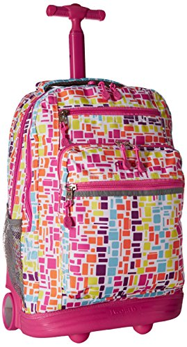 J World New York Sundance Rolling Backpack, Squares Neon, One - Square One Brands