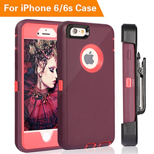 iPhone 6 Case, FOGEEK Heavy Duty Protective Combo Defender 360 Degree Rotary Belt Clip & Kickstand Case Cover Compatible for iPhone 6/6S (NOT Plus) (Wine Red)